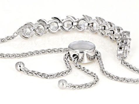 White Cubic Zirconia Rhodium Over Sterling Silver Adjustable Bracelet 4.05ctw