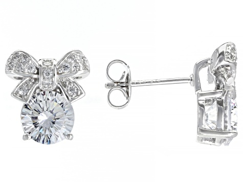White Cubic Zirconia Rhodium Over Sterling Silver Bow Earrings 4.68ctw