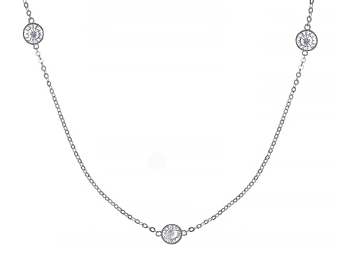 White Cubic Zirconia Rhodium Over Sterling Silver Necklace 9.57ctw