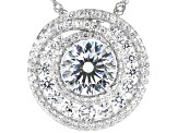 White Cubic Zirconia Rhodium Over Sterling Silver Pendant With Chain 7.18ctw