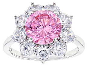 Pink and White Cubic Zirconia Rhodium Over Sterling Silver Ring 8.64ctw