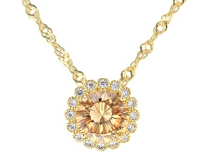 Champagne and White Cubic Zirconia 18k Yellow Gold Over Sterling Silver Pendant With Chain 3.47ctw