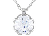 White Cubic Zirconia Dillenium Rhodium Over Sterling Silver Solitare Pendant With Chain 8.83ctw