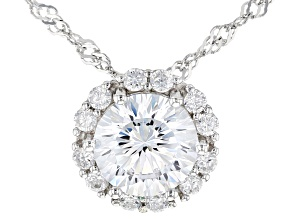 Dillenium Cut White Cubic Zirconia Rhodium Over Sterling Silver Pendant With Chain 5.29ctw