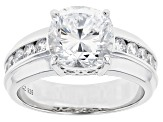 Dillenium Cut White Cubic Zirconia Rhodium Over Sterling Silver Ring 6.30ctw