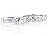 Dillenium Cut White Cubic Zirconia Rhodium Over Sterling Silver Ring 7.20ctw