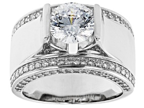 Dillenium Cut White Diamond Simulant Platinum Over Sterling Silver Ring 4.44ctw