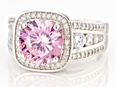 Pink And White Cubic Zirconia Rhodium Over Sterling Silver Ring 6.80ctw