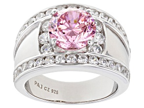 Pink And White Cubic Zirconia 7.44ctw Rhodium Over Silver Ring