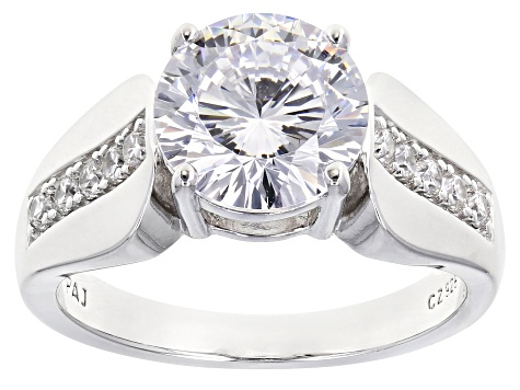 White Cubic Zirconia Platinum Over Sterling Silver Ring 5 00ctw Bld786 Jtv Com