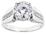 White Cubic Zirconia Platinum Over Sterling Silver Ring 5.00ctw
