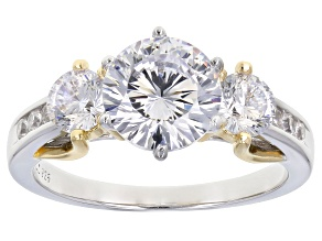White Cubic Zirconia Rhodium And 18K Yellow Gold Over Sterling Silver Ring 4.56ctw
