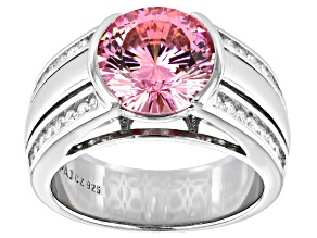Pink And White Cubic Zirconia Rhodium Over Sterling Silver Ring 6.86ctw