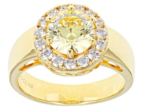 Yellow And White Cubic Zirconia 18K Yellow Gold Over Sterling Silver Ring 4.04ctw