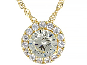 Yellow And White Cubic Zirconia 18K Yellow Gold Over Sterling Silver Pendant With Chain 4.04ctw