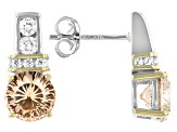 Champagne And White Cubic Zirconia Rhodium Over Sterling Silver Earrings 4.86ctw