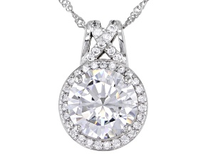 White Cubic Zirconia Rhodium Over Sterling Silver Pendant With Chain 6.58ctw