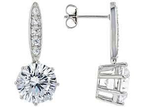White Cubic Zirconia Rhodium Over Sterling Silver Earrings 12.62ctw