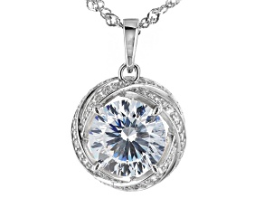 White Cubic Zirconia Rhodium Over Sterling Silver Pendant With Chain 6.86ctw