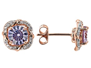 Lavender And White Cubic Zirconia 18K Rose Gold Over Sterling Silver Earrings 2.81ctw