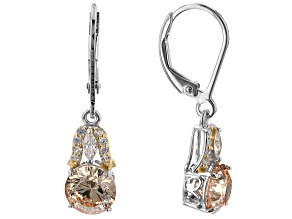 Champagne And White Cubic Zirconia Rhodium And 18K Yellow Gold Over Sterling Silver Earrings 4.56ctw