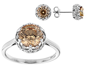 Champagne And White Cubic Zirconia Rhodium Over Sterling Silver Ring And Earring Set 6.51ctw