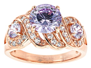 Lavender And White Cubic Zirconia 18K Rose Gold Over Sterling Silver Ring 4.67ctw