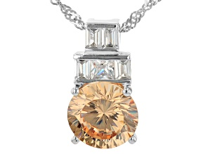 Champagne And White Cubic Zirconia Rhodium Over Sterling Silver Pendant With Chain 5.02ctw