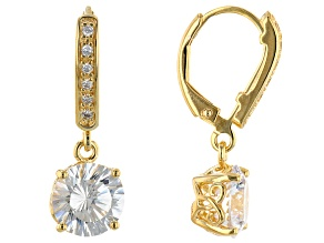 White Cubic Zirconia 18K Yellow Gold Over Sterling Silver Earrings 6.48ctw