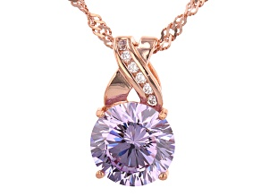 Lavender And White Cubic Zirconia 18K Rose Gold Over Sterling Silver Pendant With Chain 4.63ctw