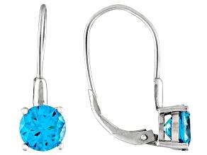4.50ctw Neon Apatite Simulant Rhodium Over Silver Earrings