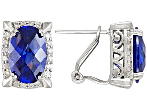 Bella Luce® Esotica™ 10.65ctw Tanzanite & White Diamond Simulants Rhodium Over Silver Earrings