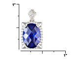 Tanzanite Simulant And White Diamond Simulant 15.55ctw, Rhodium Plated Sterling Silver Pendant 18