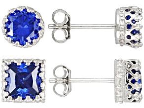 Bella Luce 6ctw Round Princess Cut Tanzanite Color Cz Silver Stud Earrings Set