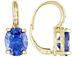 Blue and White Cubic Zirconia 18k Yellow Gold Over Sterling Silver Earrings 10.95ctw