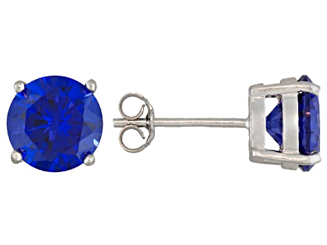 7.20ctw Tanzanite Simulant Rhodium Over Silver Stud Earrings