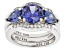 Blue and White Cubic Zirconia Rhodium Over Sterling Silver Ring With Bands 6.25ctw