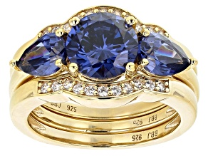 Blue and White Cubic Zirconia 18K Yellow Gold Over Sterling Silver Ring With Bands 6.25ctw