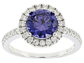 Bella Luce ® Esotica ™ 3.88ctw Tanzanite & White Diamond Simulants Rhodium Over Silver Ring