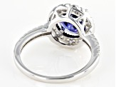 Blue & White Cubic Zirconia Rhodium Over Silver Ring 3.88ctw