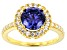 Blue and White Cubic Zirconia 18k Yellow Gold Over Sterling Silver Ring 3.88ctw