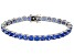 Blue Cubic Zirconia Rhodium Over Silver Bracelet Ctw Varies With Size