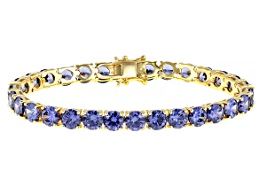 Blue Cubic Zirconia 18K Yellow Gold Over Silver Bracelet Ctw Varies With Size