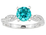 Neon Blue And White Cubic Zirconia Rhodium Over Sterling Silver Ring 2.01ctw