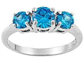 Bella Luce ® Esotica ™ 1.65ctw Neon Apatite Simulant Rhodium Over Silver Ring