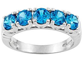 Bella Luce ® Esotica ™ 2.15ctw Neon Apatite Simulant Rhodium Over Silver Ring
