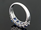 Blue Cubic Zirconia Rhodium Over Sterling Silver 5 Stone Ring 2.15ctw