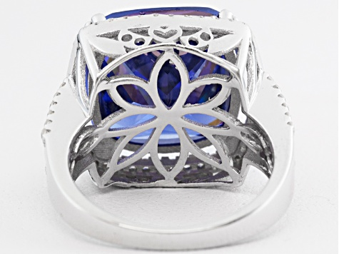 Blue And White Cubic Zirconia Rhodium Over Sterling Silver Ring 24.68ctw