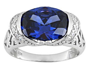 Blue And White Cubic Zirconia Silver Ring 10.23ctw