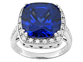 Blue And White Cubic Zirconia Silver Ring 8.86ctw